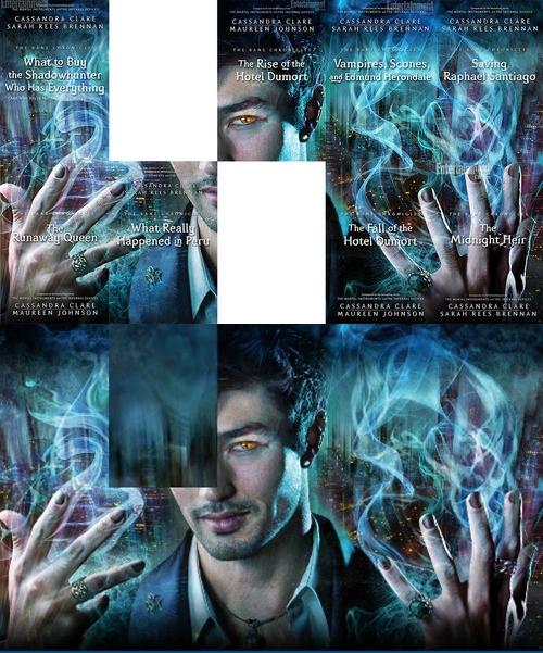 """As capas de todos os contos de """"As Crônicas de Bane"""" se junta formando esta linda imagem do nosso Magnus Bane."""