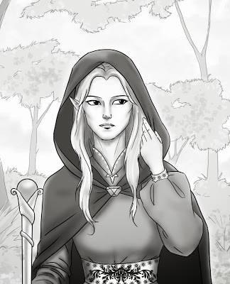 Elfa do universo de Athelgard da Ana Lúcia Merege. Arte de Angela Takagui