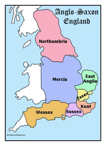 Mapa da Inglaterra da época Viking