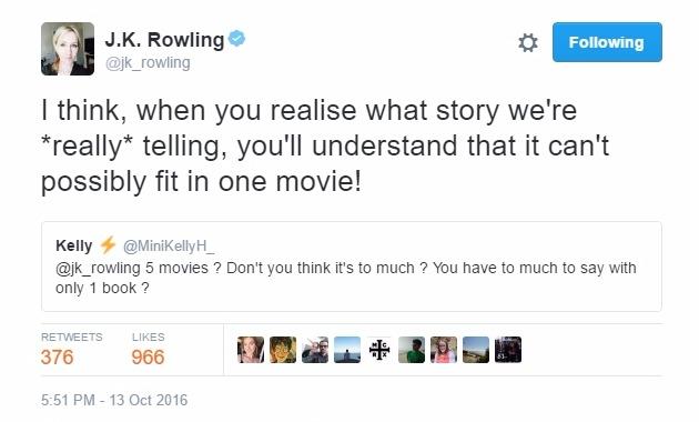 Tweet da escritora justificando a adaptação em cinco longas de apenas um de seus livros