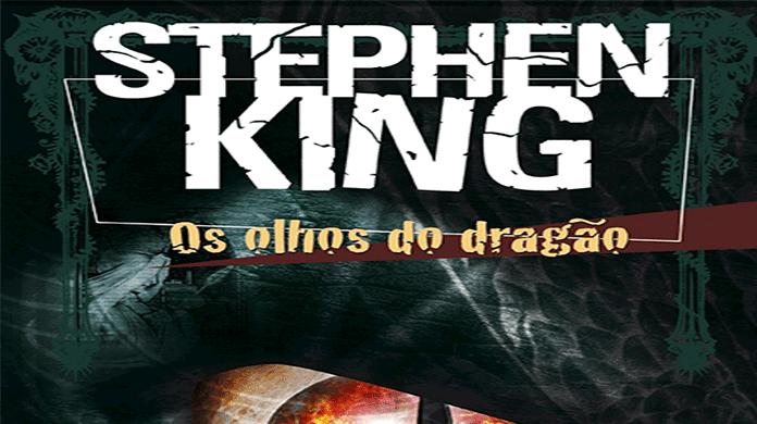 Recorte da capa do livro Os olhos do Dragão, em branco com letras grandes na parte superior o nome do autor