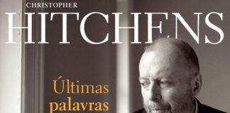 """Recorte da capa do livro """"Ultimas Palavras"""", do escritor Christopher Hitchens. Em destaque, o rosto em preto e branco do escritor com um olhar capisbaixo"""