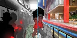 """Recorte da capa do livro """"O Homem Vazio"""" escrito por Thiago Lee. Na imagem, um jovem negro segurando um celular na mão. Ao fundo, no lado direito temos o MASP e no lado esquerdo o interior de um vagão de metrô com sombras de pessoas olhando para seus celulares."""