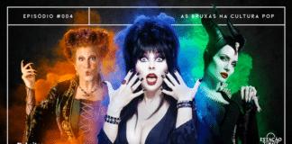 """Fundo de cimento escuro. Em destaque, personagem Elvira (do filme """"Elvira: A Rainha das Trevas""""), ao centro, envolta de fumaças na tonalidade azul. No lado direito, há Malévola (de """"Malévola""""), envolta em fumaças verdes. No esquerdo, Winifred Sanderson (de """"Abracadabra""""), com fumaças laranja. A imagem possui margem linear branca. Na parte superior, na mesma cor, há o letreiro """"Episódio #004 - As Bruxas na Cultura Pop"""". Na inferior esquerda, há o logo do portal """"Leitor Cabuloso"""" (livro com punho saindo) e, na direita, o logo do podcast """"Estação 21""""."""