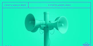 """Fundo verde-flúor com imagem de poste com quadro megafones em destaque, também em verde. A imagem possui margem linear roxa. Na parte superior, na mesma cor, há o letreiro """"Conciliábulo #005 - E-pistolagens #003"""". Na inferior esquerda, há o logo do portal """"Leitor Cabuloso"""" (livro com punho saindo) e, na direita, o logo do podcast """"Estação 21""""."""